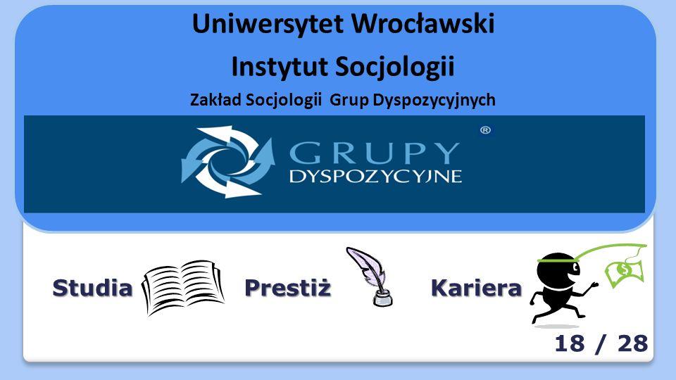 Uniwersytet Wrocławski Instytut Socjologii Zakład Socjologii Grup Dyspozycyjnych StudiaKarieraPrestiż 18 / 28