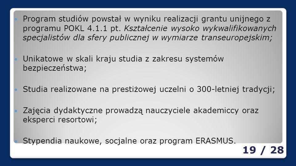 Program studiów powstał w wyniku realizacji grantu unijnego z programu POKL 4.1.1 pt.