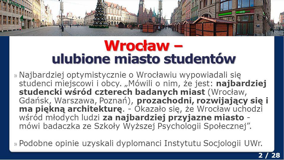 Uniwersytet Wrocławski 3 / 28 Według ogólnoświatowego rankingu szkół wyższych Webometrics Ranking of World Universities ze stycznia 2013, opracowanego przez hiszpański instytut Consejo Superior de Investigaciones Científicas uczelnia zajmuje 4.