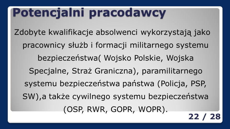 Potencjalni pracodawcy Zdobyte kwalifikacje absolwenci wykorzystają jako pracownicy służb i formacji militarnego systemu bezpieczeństwa( Wojsko Polskie, Wojska Specjalne, Straż Graniczna), paramilitarnego systemu bezpieczeństwa państwa (Policja, PSP, SW),a także cywilnego systemu bezpieczeństwa (OSP, RWR, GOPR, WOPR).