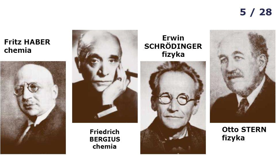 Fritz HABER chemia Friedrich BERGIUS chemia Erwin SCHRÖDINGER fizyka Otto STERN fizyka 5 / 28