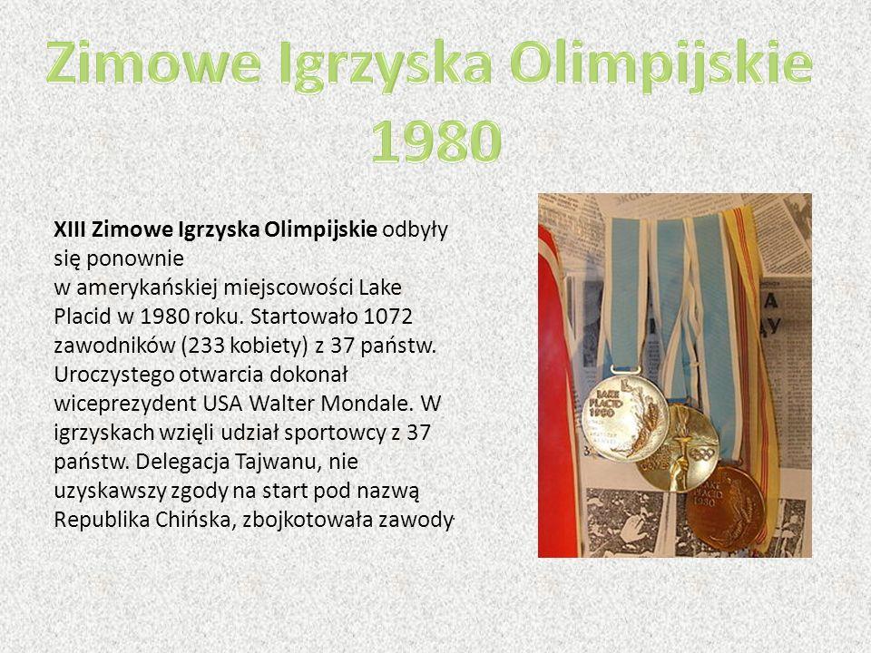 XIII Zimowe Igrzyska Olimpijskie odbyły się ponownie w amerykańskiej miejscowości Lake Placid w 1980 roku. Startowało 1072 zawodników (233 kobiety) z