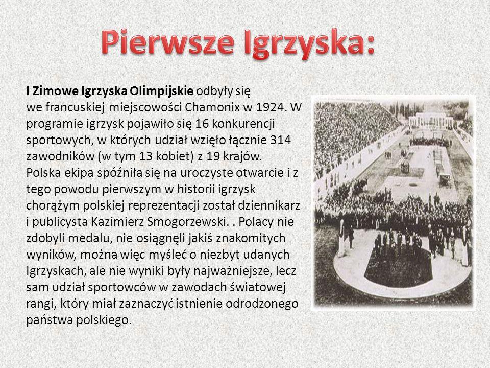 I Zimowe Igrzyska Olimpijskie odbyły się we francuskiej miejscowości Chamonix w 1924. W programie igrzysk pojawiło się 16 konkurencji sportowych, w kt