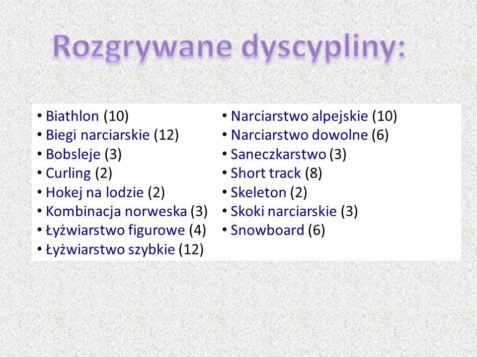 Biathlon (10) Biegi narciarskie (12) Bobsleje (3) Curling (2) Hokej na lodzie (2) Kombinacja norweska (3) Łyżwiarstwo figurowe (4) Łyżwiarstwo szybkie
