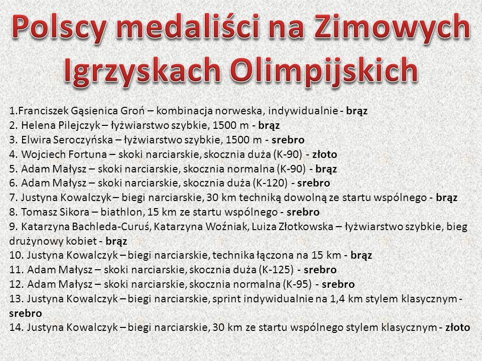 1.Franciszek Gąsienica Groń – kombinacja norweska, indywidualnie - brąz 2. Helena Pilejczyk – łyżwiarstwo szybkie, 1500 m - brąz 3. Elwira Seroczyńska
