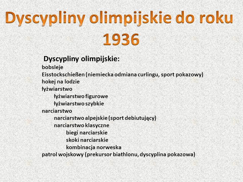 Dyscypliny olimpijskie: bobsleje Eisstockschießen (niemiecka odmiana curlingu, sport pokazowy) hokej na lodzie łyżwiarstwo łyżwiarstwo figurowe łyżwia