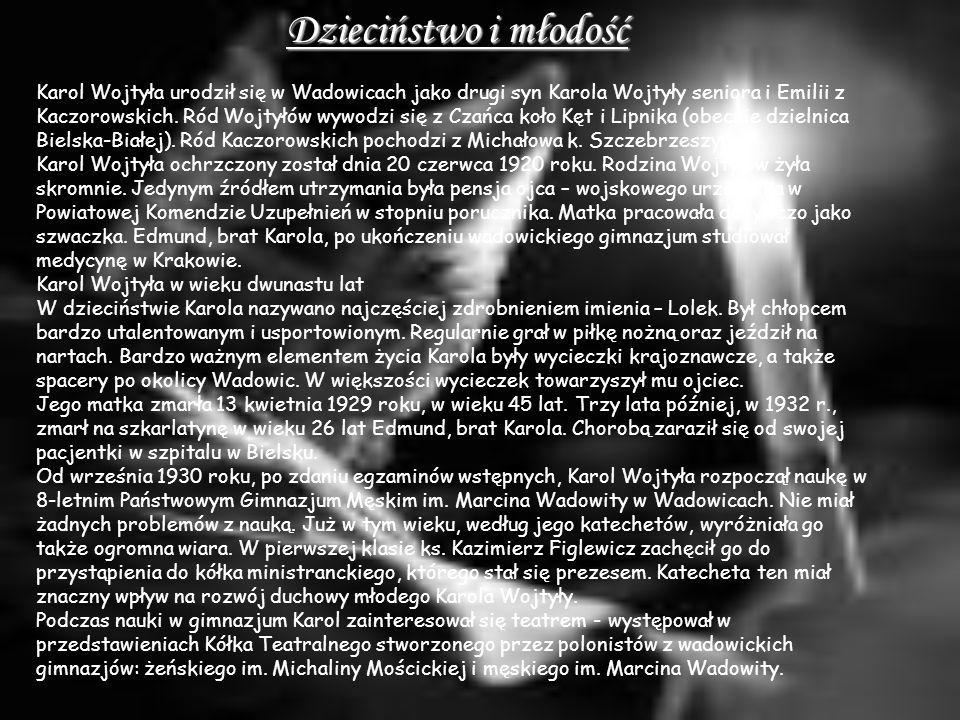 Studia 14 maja 1938 Karol Wojtyła zakończył naukę w gimnazjum otrzymując świadectwo maturalne z oceną celującą, która umożliwiała podjęcie studiów na większości uczelni bez egzaminów wstępnych.
