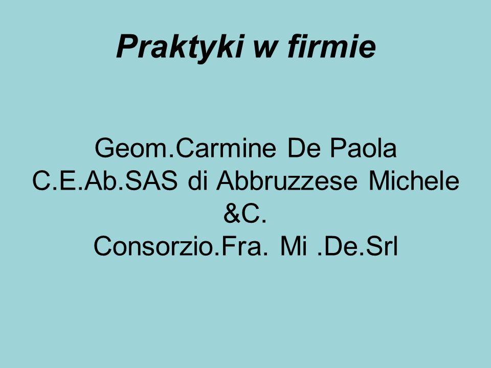 Praktyki w firmie Geom.Carmine De Paola C.E.Ab.SAS di Abbruzzese Michele &C. Consorzio.Fra. Mi.De.Srl