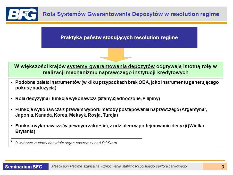 Seminarium BFG Resolution Regime szansą na wzmocnienie stabilności polskiego sektora bankowego 4 Efektywny System Gwarantowania Depozytów Gwarant depozytów powinien być elementem sieci bezpieczeństwa systemu finansowego, która zapewnia wczesne wykrywanie zagrożenia upadłością, szybką interwencję i przeprowadzenie programu naprawczego.