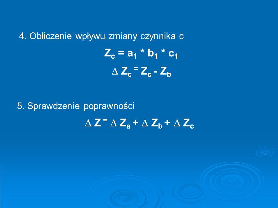 4. Obliczenie wpływu zmiany czynnika c Z c = a 1 * b 1 * c 1 Z c = Z c - Z b 5. Sprawdzenie poprawności Z = Z a + Z b + Z c