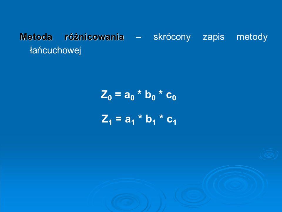 Metoda różnicowania Metoda różnicowania – skrócony zapis metody łańcuchowej Z 0 = a 0 * b 0 * c 0 Z 1 = a 1 * b 1 * c 1