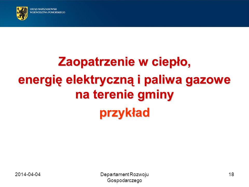 2014-04-04Departament Rozwoju Gospodarczego 18 Zaopatrzenie w ciepło, energię elektryczną i paliwa gazowe na terenie gminy przykład