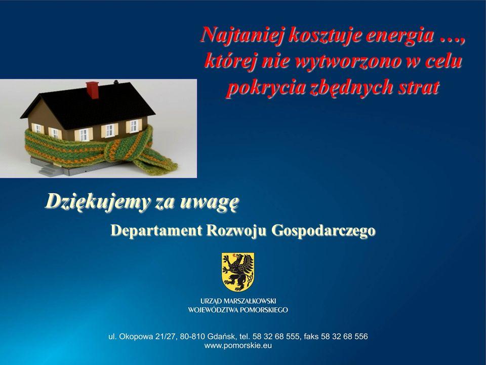2014-04-04Departament Rozwoju Gospodarczego 26 Dziękujemy za uwagę Departament Rozwoju Gospodarczego Najtaniej kosztuje energia …, której nie wytworzo