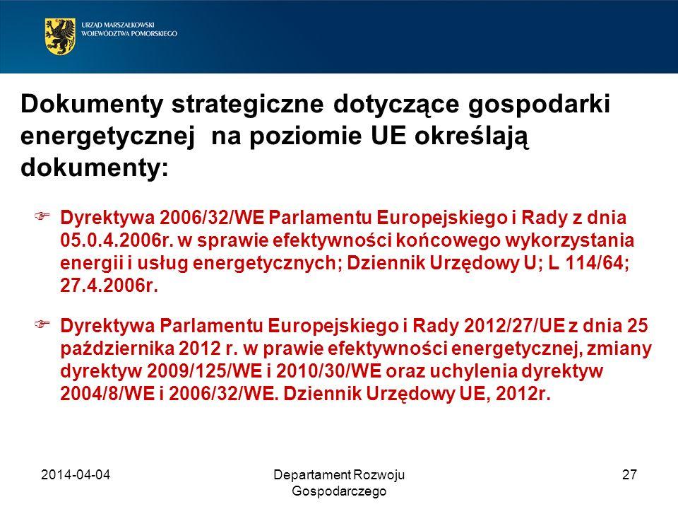 2014-04-04Departament Rozwoju Gospodarczego 27 Dokumenty strategiczne dotyczące gospodarki energetycznej na poziomie UE określają dokumenty: Dyrektywa