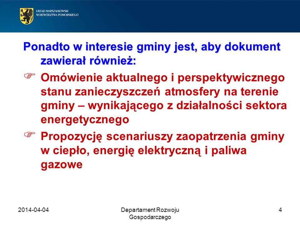 2014-04-04Departament Rozwoju Gospodarczego 4 Ponadto w interesie gminy jest, aby dokument zawierał również: Omówienie aktualnego i perspektywicznego