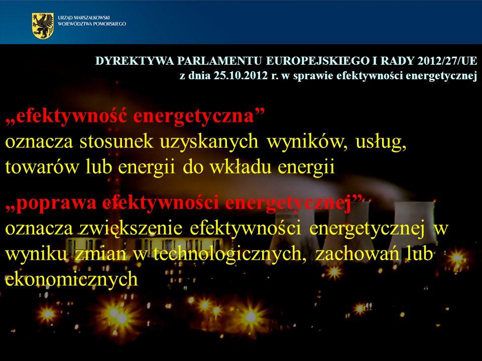 8 DYREKTYWA PARLAMENTU EUROPEJSKIEGO I RADY 2012/27/UE z dnia 25.10.2012 r. w sprawie efektywności energetycznej efektywność energetyczna oznacza stos