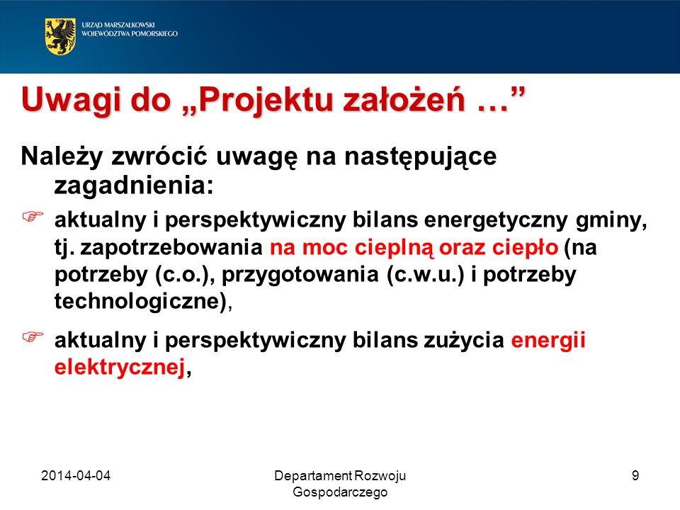 2014-04-04Departament Rozwoju Gospodarczego 9 Uwagi do Projektu założeń … Należy zwrócić uwagę na następujące zagadnienia: aktualny i perspektywiczny