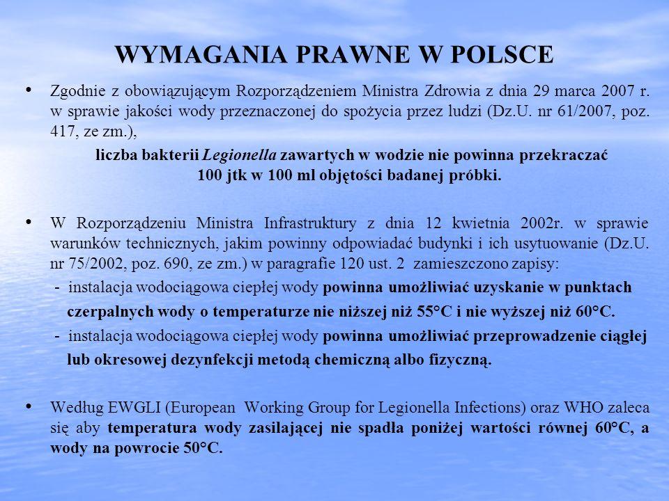 WYMAGANIA PRAWNE W POLSCE Zgodnie z obowiązującym Rozporządzeniem Ministra Zdrowia z dnia 29 marca 2007 r. w sprawie jakości wody przeznaczonej do spo