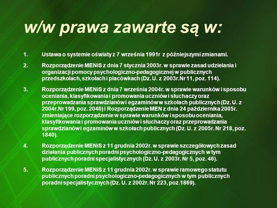 w/w prawa zawarte są w: 1.Ustawa o systemie oświaty z 7 września 1991r z późniejszymi zmianami. 2.Rozporządzenie MENiS z dnia 7 stycznia 2003r. w spra