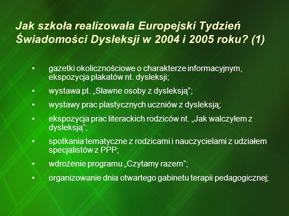 Jak szkoła realizowała Europejski Tydzień Świadomości Dysleksji w 2004 i 2005 roku? (1) gazetki okolicznościowe o charakterze informacyjnym, ekspozycj