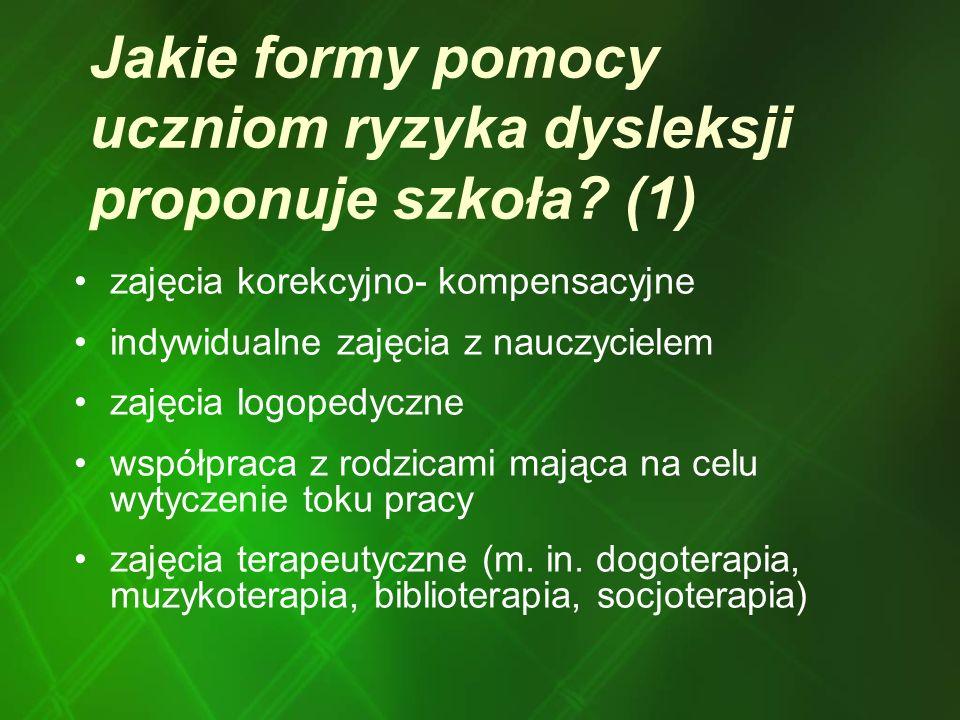 Jakie formy pomocy uczniom ryzyka dysleksji proponuje szkoła? (1) zajęcia korekcyjno- kompensacyjne indywidualne zajęcia z nauczycielem zajęcia logope