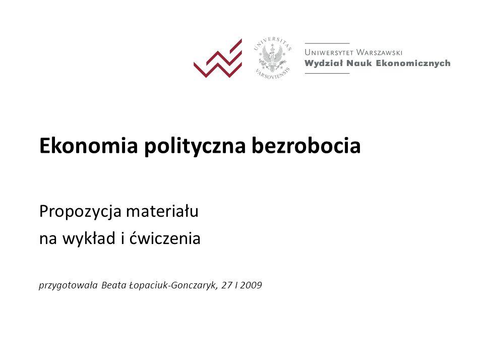 Ogólny zarys wykładu - propozycja Bezrobocie wg teorii ekonomicznej – krótkie przypomnienie i uporządkowanie dotychczasowej wiedzy studentów Bezrobocie – dane empiryczne, dane z ostatnich lat dla różnych krajów i Polski, bezrobocie w Polsce w okresie transformacji Bezrobocie jako problem ekonomii politycznej Przykłady podejścia charakterystycznego dla ekonomii politycznej – Kalecki i Olson Teoria politycznego cyklu koniunkturalnego 2