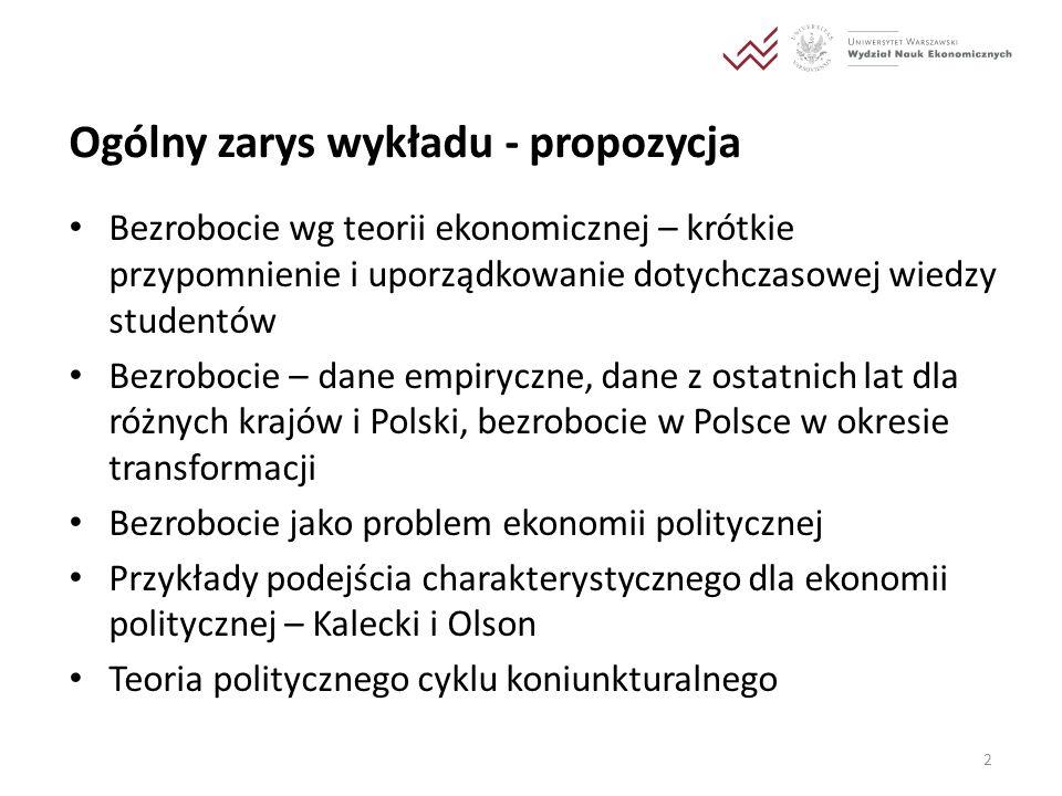 Polityczne aspekty pełnego zatrudnienia Ekonomiczna teoria pełnego zatrudnienia (wg Kaleckiego i Keynesa): możliwość zapewnienia pełnego zatrudnienia za pomocą interwencji państwowej, zagrożenie inflacją wyłącznie w sytuacji zwiększania zatrudnienia ponad poziom odpowiadający produkcji potencjalnej Polityczne problemy związane z osiągnięciem pełnego zatrudnienia: opór wpływowych przedstawicieli bankowości i przemysłu wobec polityki pełnego zatrudnienia 13