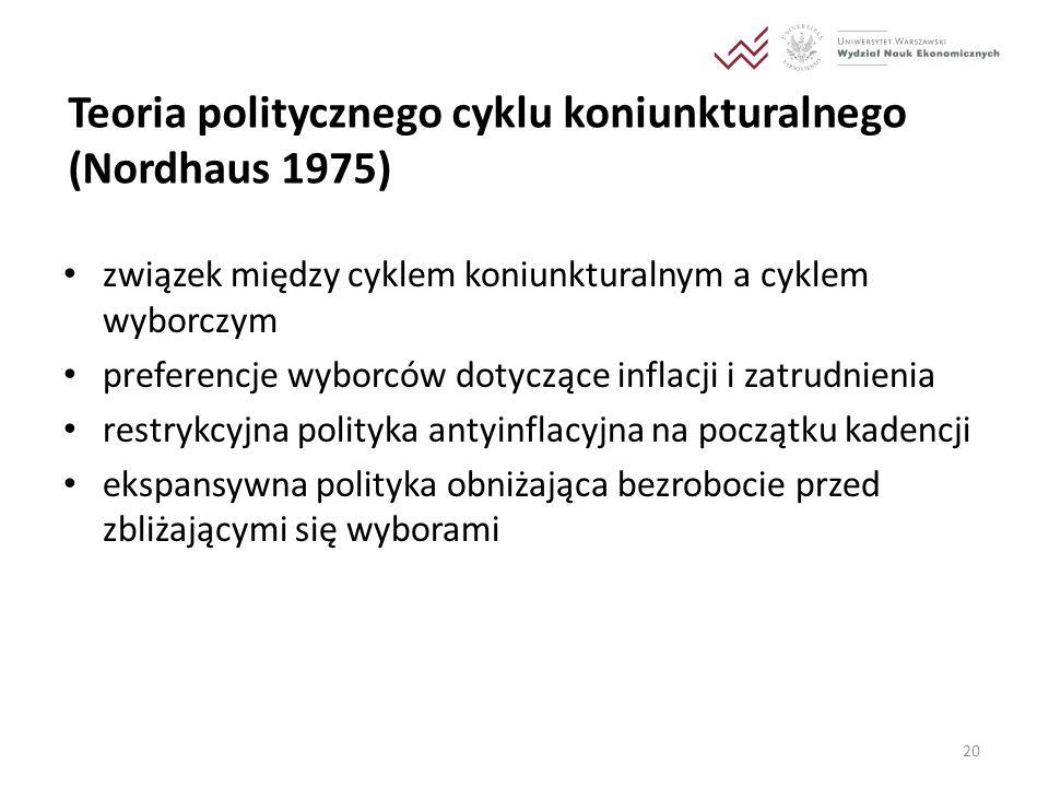 Teoria politycznego cyklu koniunkturalnego (Nordhaus 1975) związek między cyklem koniunkturalnym a cyklem wyborczym preferencje wyborców dotyczące inf