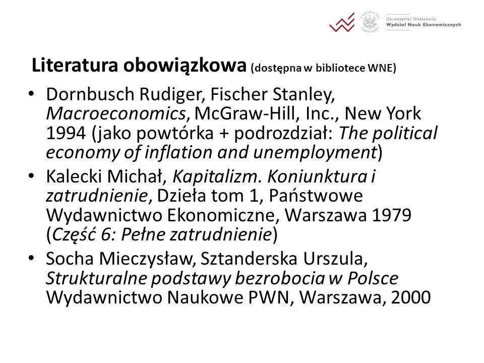 Literatura obowiązkowa (dostępna w bibliotece WNE) Dornbusch Rudiger, Fischer Stanley, Macroeconomics, McGraw-Hill, Inc., New York 1994 (jako powtórka