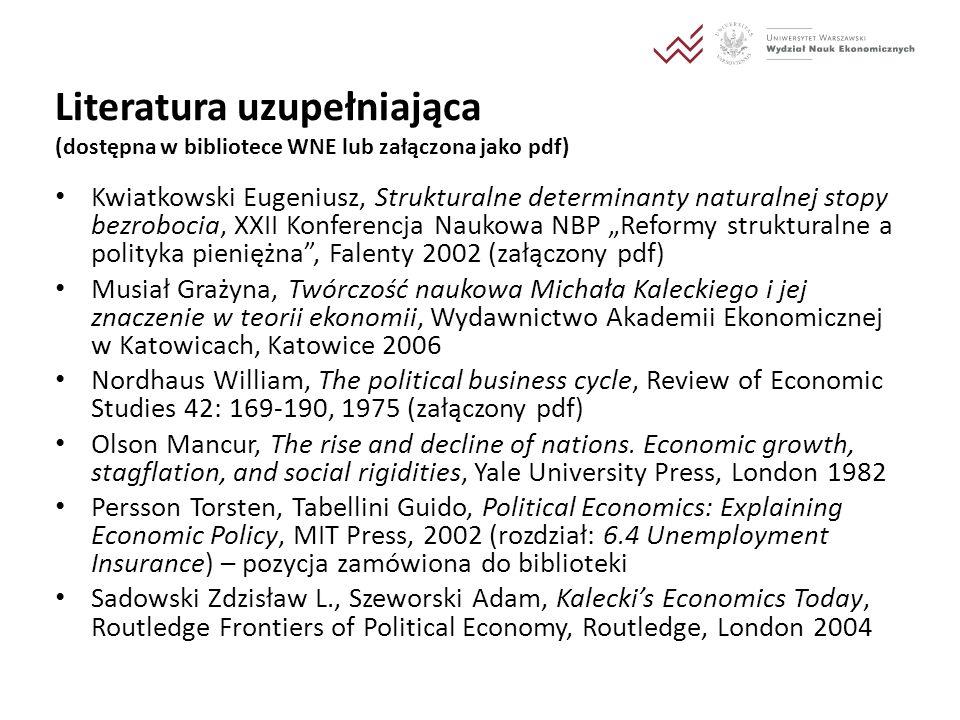 Literatura uzupełniająca (dostępna w bibliotece WNE lub załączona jako pdf) Kwiatkowski Eugeniusz, Strukturalne determinanty naturalnej stopy bezroboc