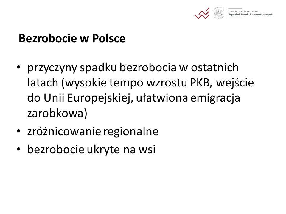 Bezrobocie w Polsce przyczyny spadku bezrobocia w ostatnich latach (wysokie tempo wzrostu PKB, wejście do Unii Europejskiej, ułatwiona emigracja zarob
