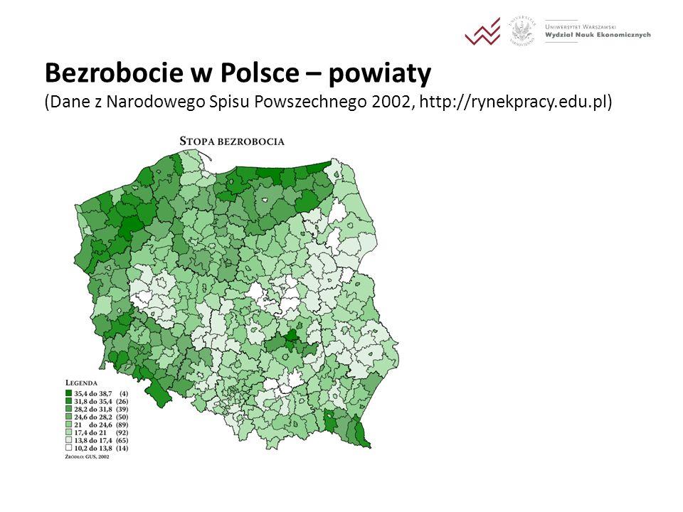 Bezrobocie w Polsce – powiaty (Dane z Narodowego Spisu Powszechnego 2002, http://rynekpracy.edu.pl)