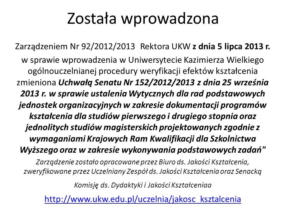 Została wprowadzona Zarządzeniem Nr 92/2012/2013 Rektora UKW z dnia 5 lipca 2013 r. w sprawie wprowadzenia w Uniwersytecie Kazimierza Wielkiego ogólno