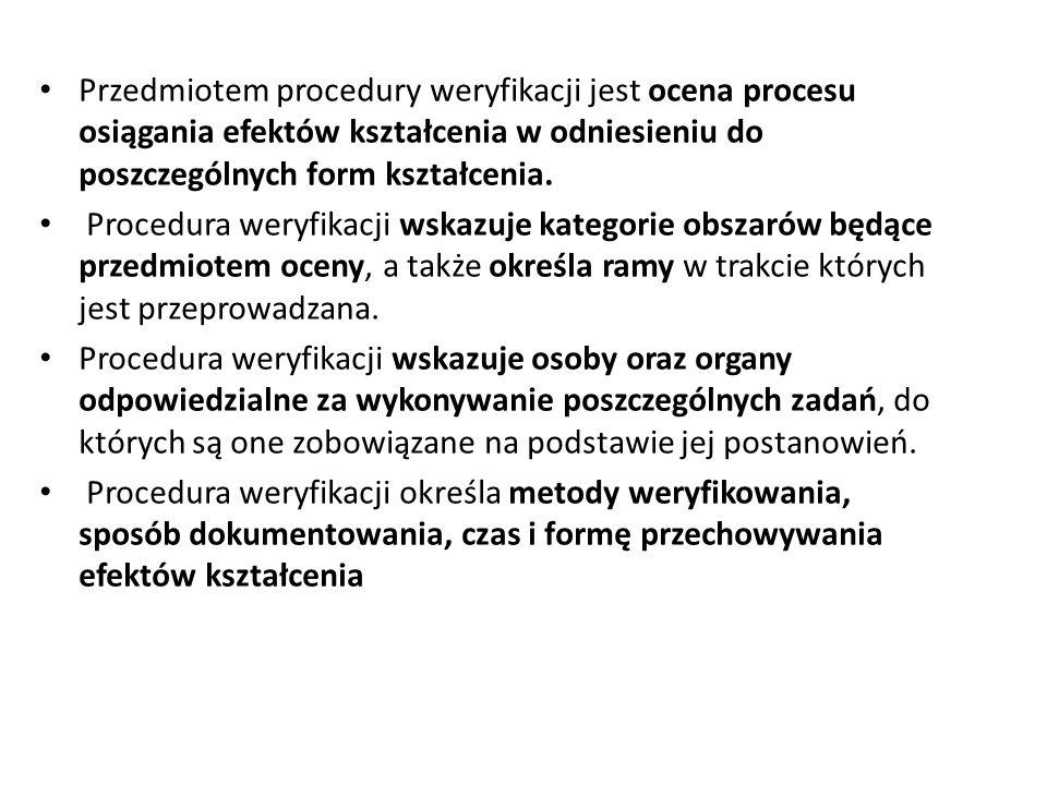 Przedmiotem procedury weryfikacji jest ocena procesu osiągania efektów kształcenia w odniesieniu do poszczególnych form kształcenia. Procedura weryfik