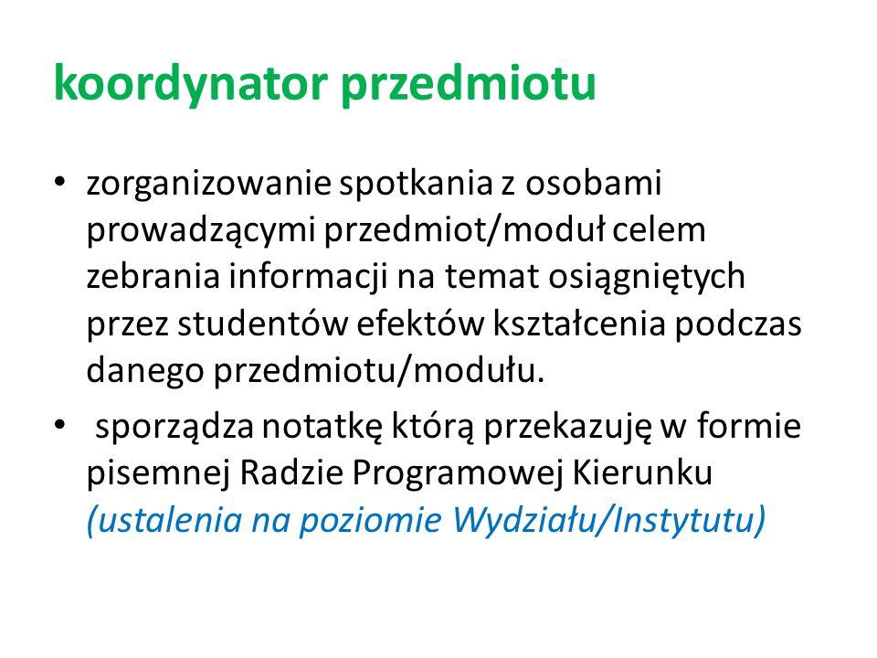 koordynator przedmiotu zorganizowanie spotkania z osobami prowadzącymi przedmiot/moduł celem zebrania informacji na temat osiągniętych przez studentów
