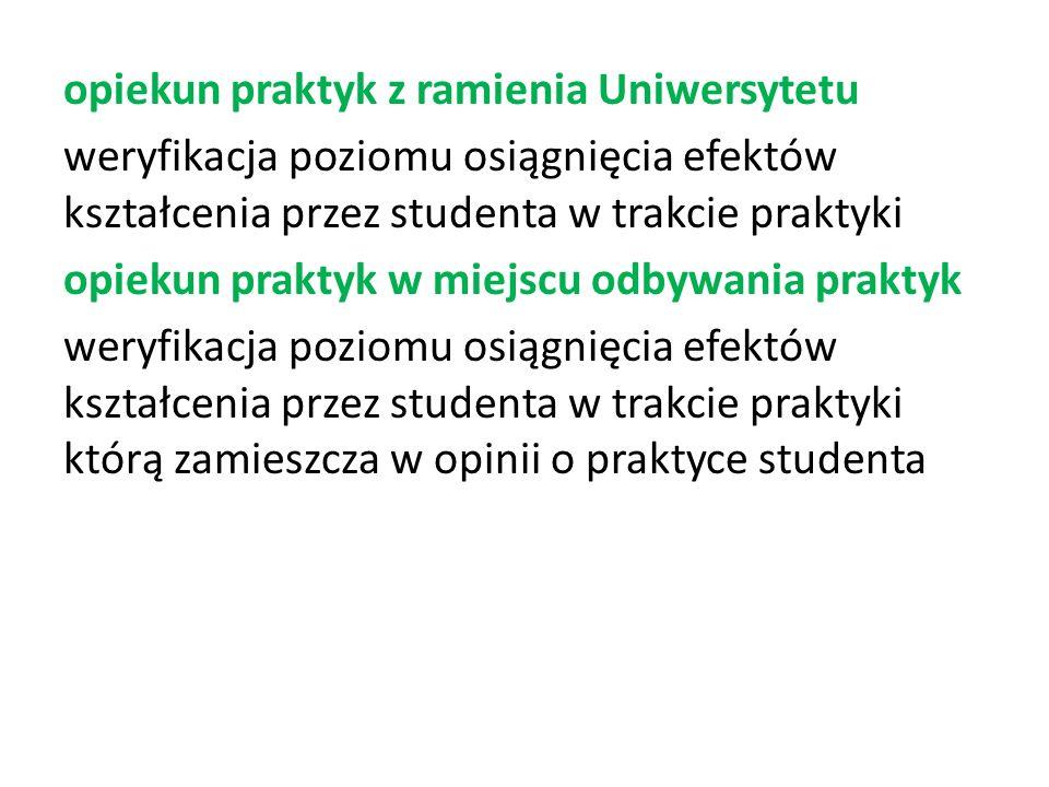 opiekun praktyk z ramienia Uniwersytetu weryfikacja poziomu osiągnięcia efektów kształcenia przez studenta w trakcie praktyki opiekun praktyk w miejsc