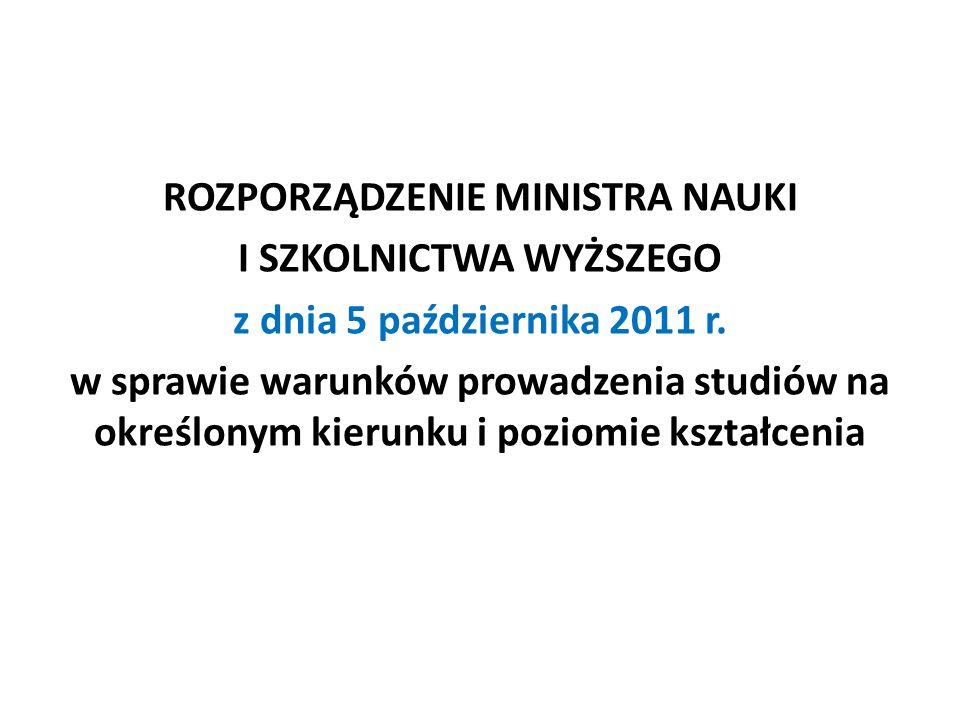 ROZPORZĄDZENIE MINISTRA NAUKI I SZKOLNICTWA WYŻSZEGO z dnia 5 października 2011 r. w sprawie warunków prowadzenia studiów na określonym kierunku i poz