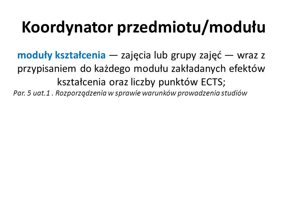 Koordynator przedmiotu/modułu moduły kształcenia zajęcia lub grupy zajęć wraz z przypisaniem do każdego modułu zakładanych efektów kształcenia oraz li