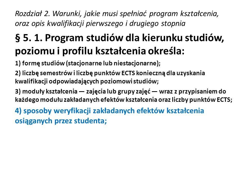 Rozdział 2. Warunki, jakie musi spełniać program kształcenia, oraz opis kwalifikacji pierwszego i drugiego stopnia § 5. 1. Program studiów dla kierunk
