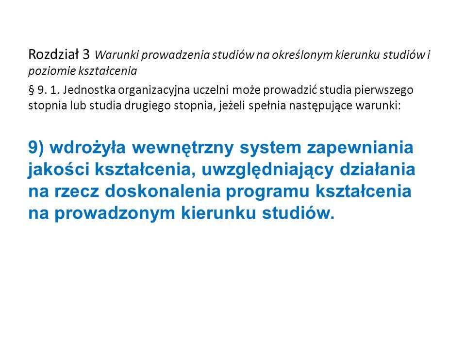Rozdział 3 Warunki prowadzenia studiów na określonym kierunku studiów i poziomie kształcenia § 9. 1. Jednostka organizacyjna uczelni może prowadzić st