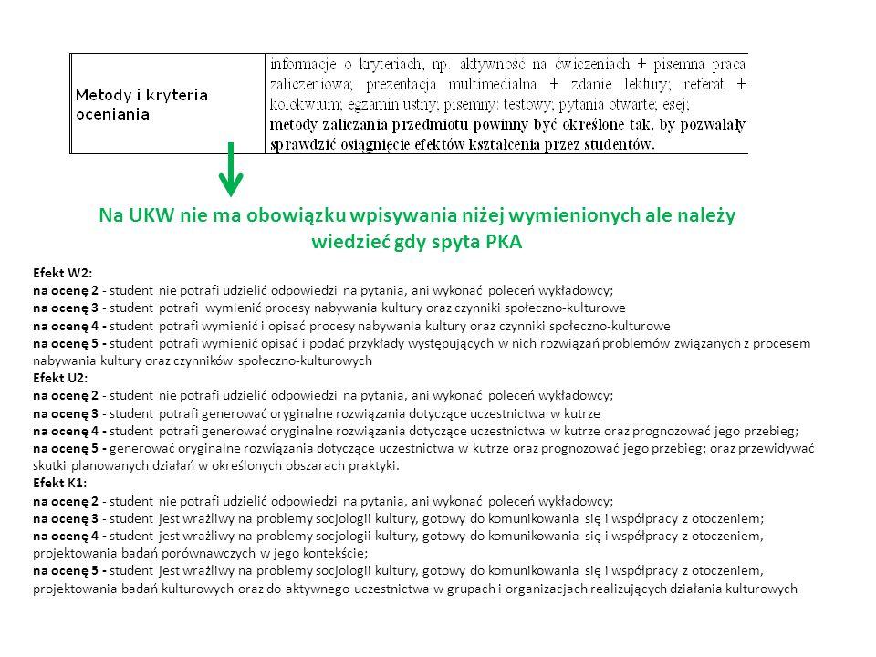 Na UKW nie ma obowiązku wpisywania niżej wymienionych ale należy wiedzieć gdy spyta PKA Efekt W2: na ocenę 2 - student nie potrafi udzielić odpowiedzi