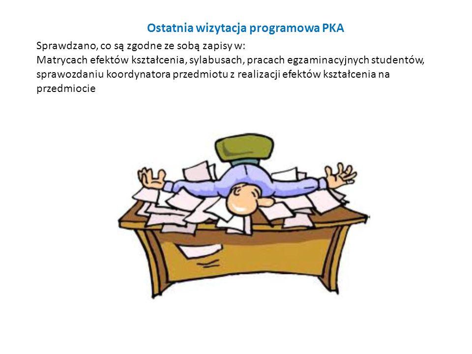 Ostatnia wizytacja programowa PKA Sprawdzano, co są zgodne ze sobą zapisy w: Matrycach efektów kształcenia, sylabusach, pracach egzaminacyjnych studen
