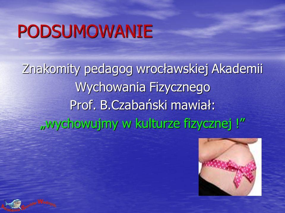 PODSUMOWANIE Znakomity pedagog wrocławskiej Akademii Wychowania Fizycznego Prof. B.Czabański mawiał: wychowujmy w kulturze fizycznej !