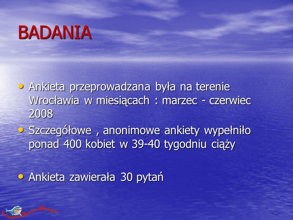 BADANIA Ankieta przeprowadzana była na terenie Wrocławia w miesiącach : marzec - czerwiec 2008 Ankieta przeprowadzana była na terenie Wrocławia w miesiącach : marzec - czerwiec 2008 Szczegółowe, anonimowe ankiety wypełniło ponad 400 kobiet w 39-40 tygodniu ciąży Szczegółowe, anonimowe ankiety wypełniło ponad 400 kobiet w 39-40 tygodniu ciąży Ankieta zawierała 30 pytań Ankieta zawierała 30 pytań