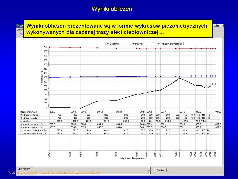 Wyniki obliczeń Wyniki obliczeń prezentowane są w formie wykresów piezometrycznych wykonywanych dla zadanej trasy sieci ciepłowniczej... Wciśnij lewy