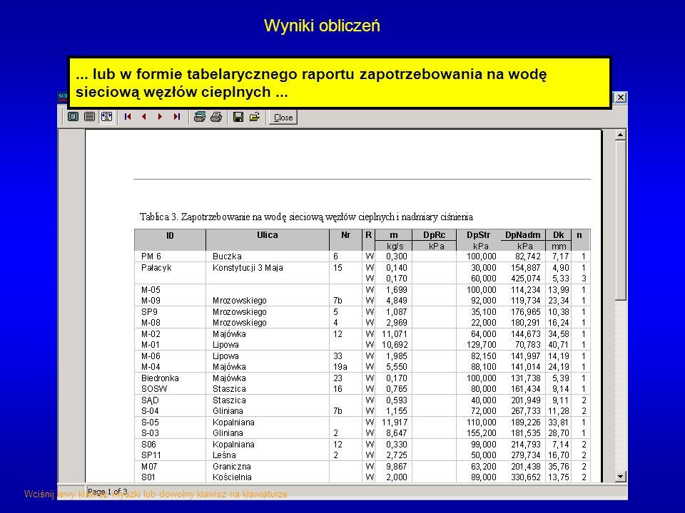 Wyniki obliczeń... lub w formie tabelarycznego raportu zapotrzebowania na wodę sieciową węzłów cieplnych... Wciśnij lewy klawisz myszki lub dowolny kl