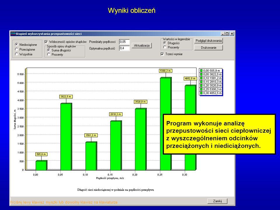 Wyniki obliczeń Program wykonuje analizę przepustowości sieci ciepłowniczej z wyszczególneniem odcinków przeciąźonych i niediciążonych. Wciśnij lewy k