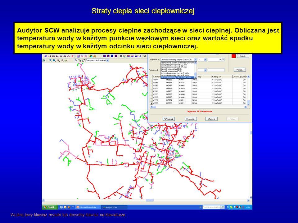 Straty ciepła sieci ciepłowniczej Wciśnij lewy klawisz myszki lub dowolny klawisz na klawiaturze Audytor SCW analizuje procesy cieplne zachodzące w si