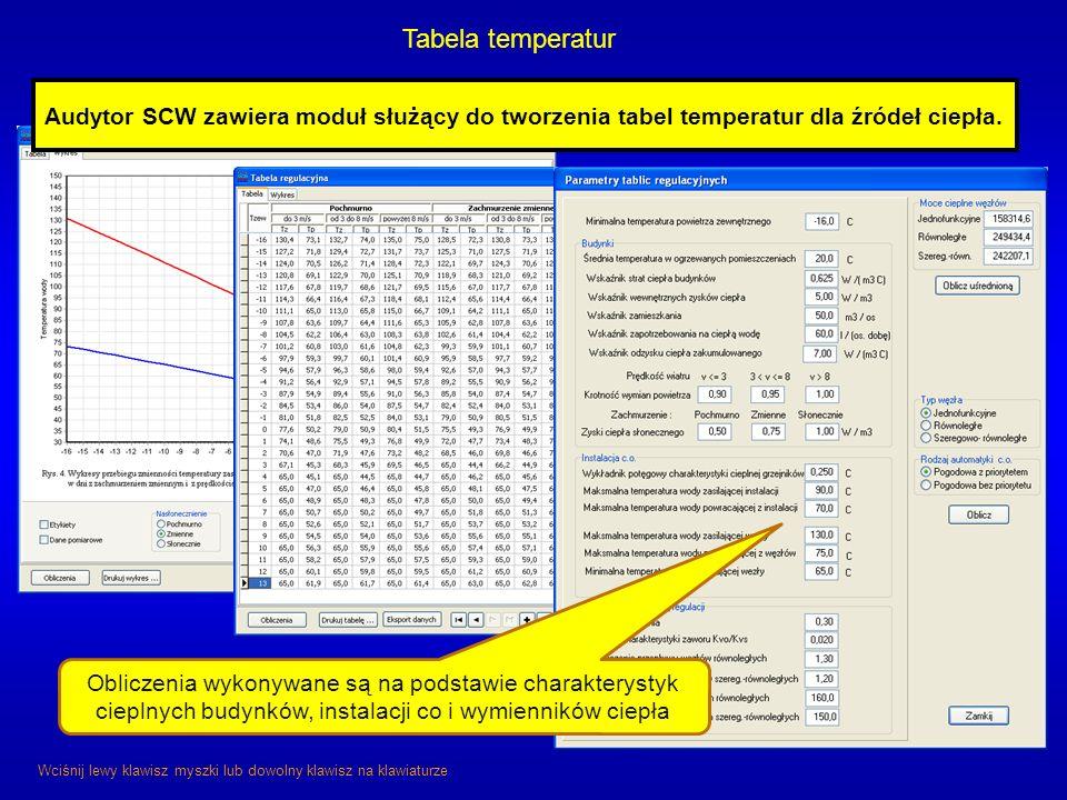 Tabela temperatur Wciśnij lewy klawisz myszki lub dowolny klawisz na klawiaturze Audytor SCW zawiera moduł służący do tworzenia tabel temperatur dla ź