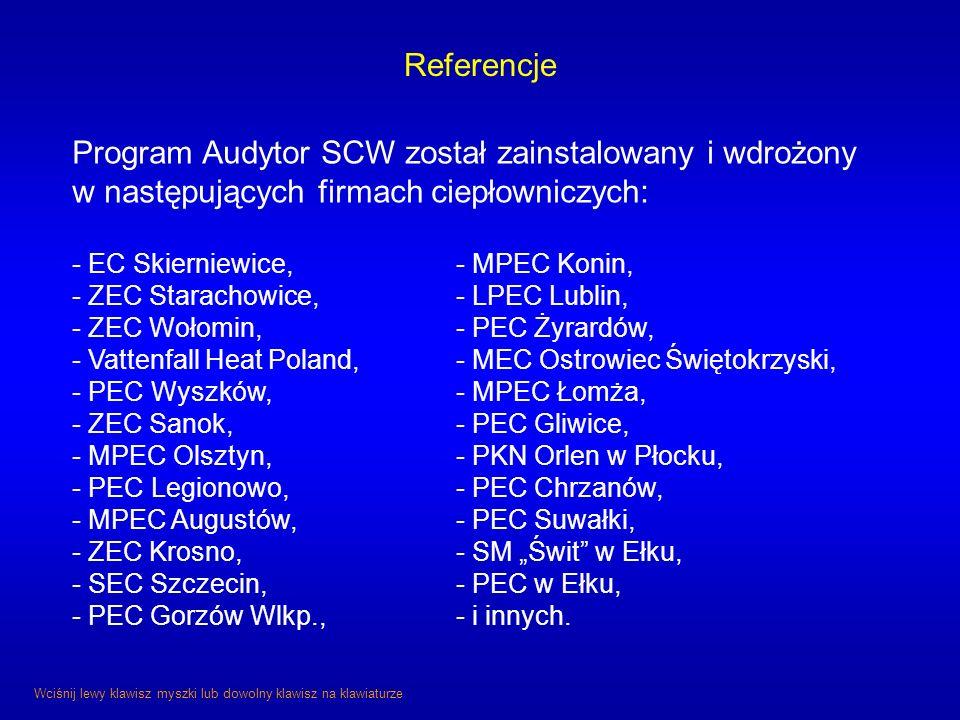 Program Audytor SCW został zainstalowany i wdrożony w następujących firmach ciepłowniczych: - EC Skierniewice,- MPEC Konin, - ZEC Starachowice,- LPEC